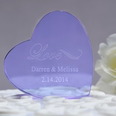 Personalized Heart Shaped Crystal Cake Topper
