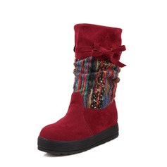 Suede Flat Heel Mid-Calf Boots Snow Boots shoes