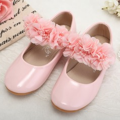 Girl's Leatherette Flat Heel Round Toe Closed Toe Flats With Beading Flower