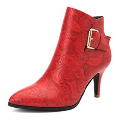 Women's Real Leather Stiletto Heel Pumps Closed Toe Boots Ankle Boots With Buckle shoes