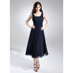 A-Line/Princess Square Neckline Tea-Length Chiffon Bridesmaid Dress With Ruffle