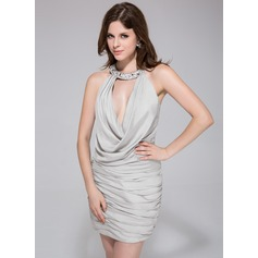 Sheath/Column Halter Short/Mini Jersey Cocktail Dress With Ruffle Beading