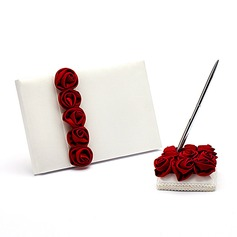 Bold Red Luxury Rose Lined Satin Petals Guestbook/Pen Set
