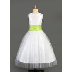 A-Line/Princess Floor-length Flower Girl Dress - Tulle/Charmeuse Sleeveless Scoop Neck With Sash/Flower(s)/Bow(s)