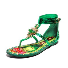 Women's Real Leather Flat Heel Sandals Flip-Flops With Rhinestone shoes