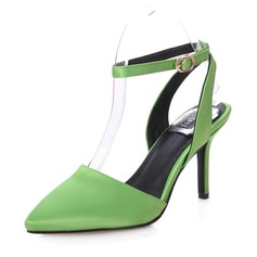 Silk Stiletto Heel Pumps Closed Toe shoes