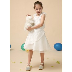 A-Line/Princess Satin First Communion Dresses With Lace/Beading/Flower(s)/Sequins/Cascading Ruffles (010070959)
