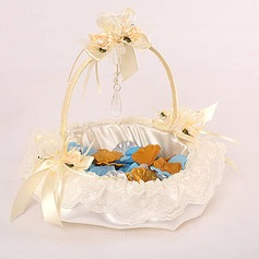 Wedding Flower Girl Basket In Ivory Satin With Lace And Crystal Pendant(102018053)