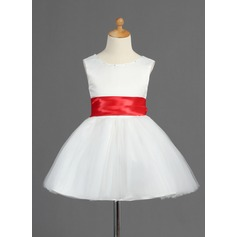 A-Line/Princess Short/Mini Flower Girl Dress - Satin/Tulle Sleeveless Scoop Neck With Sash/Bow(s)