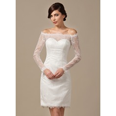Sheath/Column Off-the-Shoulder Knee-Length Lace Wedding Dress With Beading Sequins