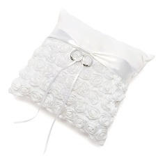 Chic Ring Pillow in Satin With Ribbons/Flowers