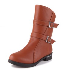 Women's Leatherette Low Heel Closed Toe Mid-Calf Boots With Buckle shoes