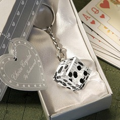 Fantastic Dice Design Chrome Keychains