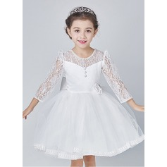 A-Line/Princess Knee-length Flower Girl Dress - Organza 3/4 Sleeves Scoop Neck With Beading/Bow(s)