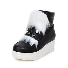 Women's Leatherette Flat Heel Flats Boots With Crystal Fur shoes