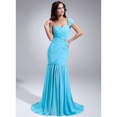 Trumpet/Mermaid One-Shoulder Sweep Train Chiffon Evening Dress With Ruffle Crystal Brooch