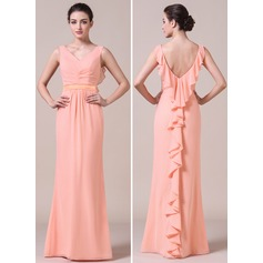 Trumpet/Mermaid V-neck Floor-Length Chiffon Bridesmaid Dress With Cascading Ruffles