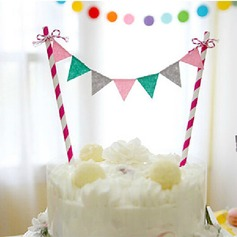 Colorful Flags Paper Cake Topper