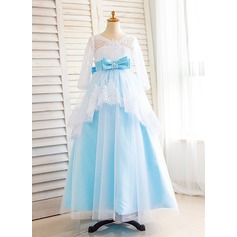 Ball Gown Floor-length Flower Girl Dress - Tulle/Lace Long Sleeves V-neck With Beading/Sequins/Bow(s)/V Back