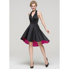 A-Line/Princess Halter Asymmetrical Satin Homecoming Dress With Lace Beading