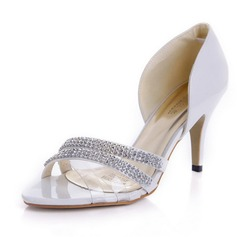 Women's Patent Leather Stiletto Heel Peep Toe Sandals With Rhinestone