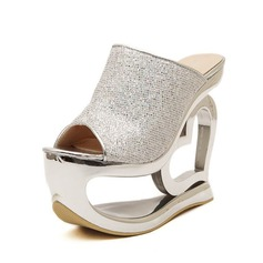 Leatherette Wedge Heel Sandals Slippers shoes