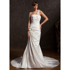Trumpet/Mermaid One-Shoulder Chapel Train Taffeta Wedding Dress With Ruffle Lace Flower(s)