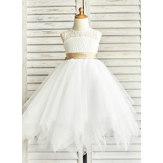 A-Line/Princess Tea-length Flower Girl Dress - Tulle/Lace Sleeveless Jewel With Sash/Back Hole (010091412)