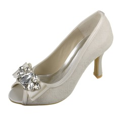 Women's Lace Satin Stiletto Heel Peep Toe Sandals With Crystal