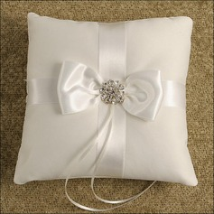 Classic Ring Pillow in Satin/Cotton With Bow/Beading
