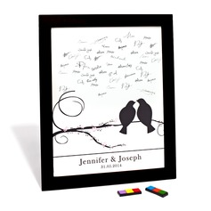 "Personalized ""Cherry Blossom and Love Birds"" Canvas Signature Platter"