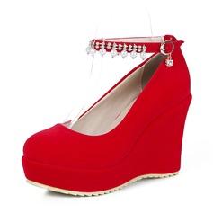 المرأة سويدي كعب ويدج منصة أسافين أحذية