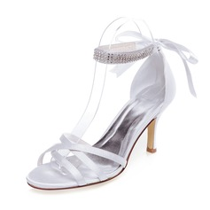 Women's Satin Stiletto Heel Sandals With Rhinestone