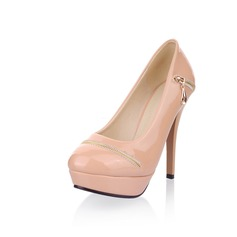 Patent Leather Stiletto Heel Closed Toe Platform Pumps With Zipper (085025199)