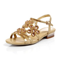 Real Leather Flat Heel Sandals Flats With Rhinestone Buckle shoes