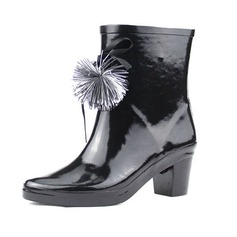Rubber Chunky Heel Ankle Boots Rain Boots shoes