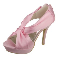 Women's Satin Stiletto Heel Peep Toe Pumps Sandals With Zipper