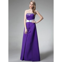 A-Line/Princess Strapless Floor-Length Satin Bridesmaid Dress With Embroidered Sash Beading