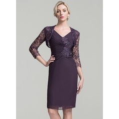Sheath/Column V-neck Knee-Length Chiffon Mother of the Bride Dress With Ruffle Beading Appliques Lace Sequins