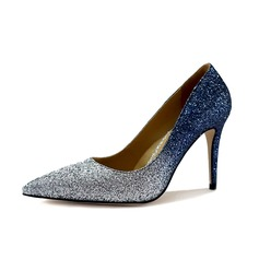 Women's Sparkling Glitter Stiletto Heel Pumps Closed Toe shoes