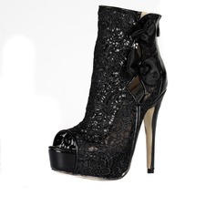 Lace Stiletto Heel Platform Peep Toe Ankle Boots With Bowknot Zipper Hollow-out shoes