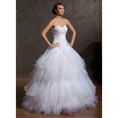 Ball-Gown Sweetheart Floor-Length Satin Organza Tulle Wedding Dress With Embroidered Beading