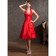 A-Line/Princess Halter Knee-Length Taffeta Homecoming Dress With Cascading Ruffles