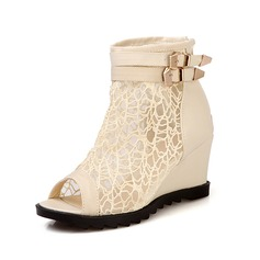 Leatherette Wedge Heel Sandals Peep Toe Ankle Boots With Buckle shoes