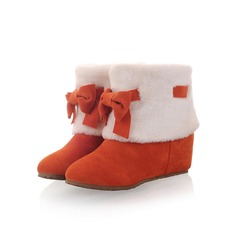 Women's Suede Flat Heel Ankle Boots With Bowknot Fur shoes