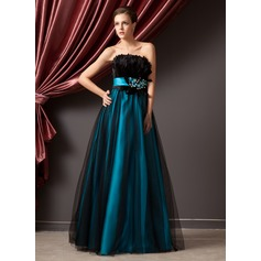 A-Line/Princess Strapless Floor-Length Charmeuse Tulle Prom Dress With Beading Feather Sequins
