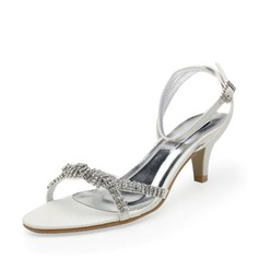 Leatherette Low Heel Sandals Wedding Shoes With Buckle Rhinestone (047011802)