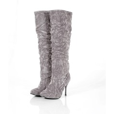 Leatherette Cone Heel Knee High Boots shoes
