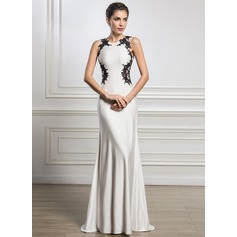 Trumpet/Mermaid Scoop Neck Sweep Train Jersey Evening Dress With Beading Appliques Lace Sequins