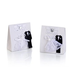 Bride & Groom Handbag shaped Favor Boxes With Bow (Set of 12)